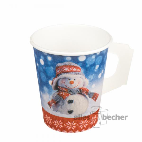 hartpapierbecher snowman mit henkel 200ml. Black Bedroom Furniture Sets. Home Design Ideas